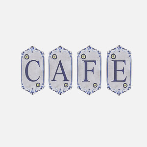 old stone cafe sign 3D