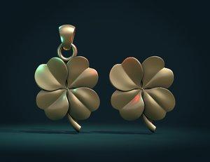 3D clover pendant