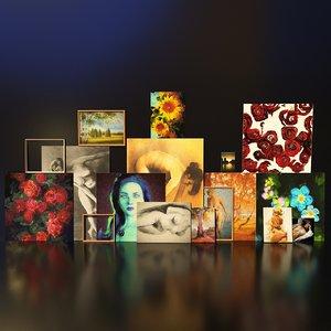 3D artist studio paintings set