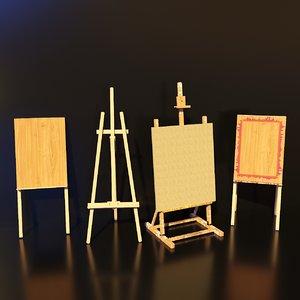 3D artist studio easels set model
