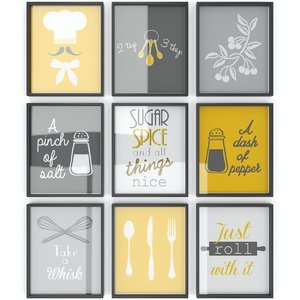 3D set yellow kitchen posters