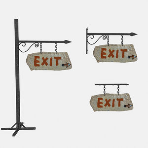 3D old stone exit sign