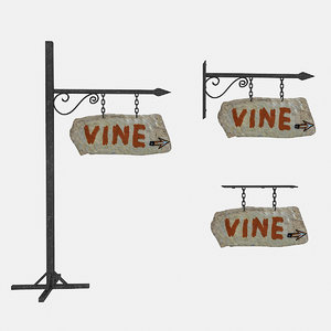 3D model old stone vine sign