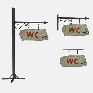 3D model old stone wc sign