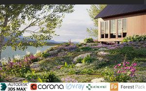 3D grass flower ground cover model