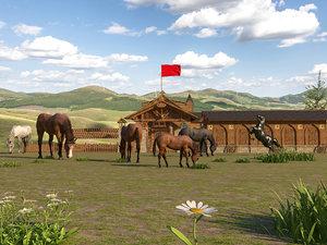 realistic grassland horse farm 3D model