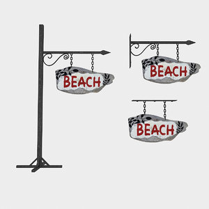 3D old wooden beach sign