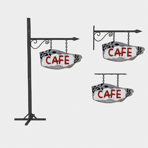 3D old wooden cafe sign model
