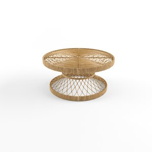 3D model table natural rattan