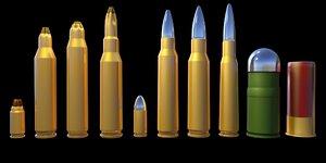3D bullet ammo cartridge model