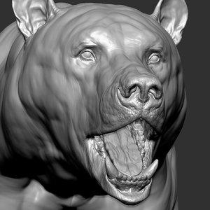 bear facial expression light 3D model