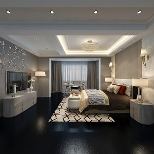 interior decorated hotel room 3D model