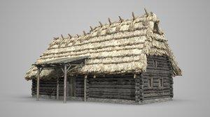 3D model thatched cottages rural