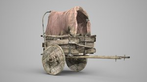 3D beat-up horse-drawn cart