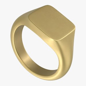 square signet ring 3D model