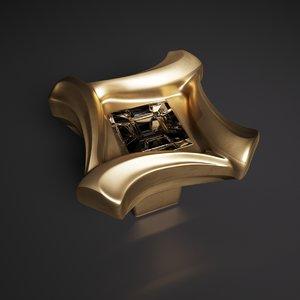 3D handle gold