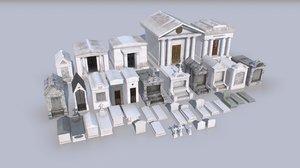 cemetery mausoleums tombs graveyards 3D