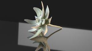 3D mountain flower edelweiss nature model