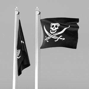 3D flag pirate