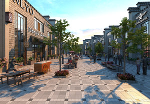 3D model commercial street day view