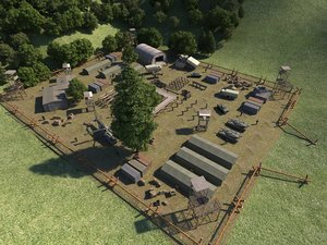 3D military base army field