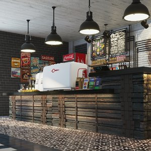 3D bar counter coffee restaurant