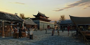 ancient town bazaar construction 3D