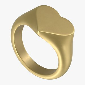 heart signet ring 3D model