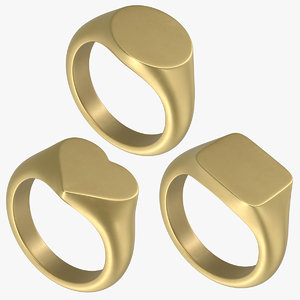 3D signet ring set