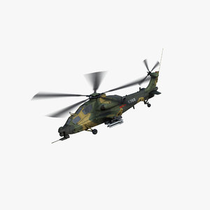 3D wz-10 helicopter gunship model