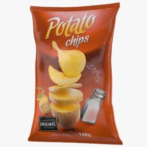 3D potato chips bag model