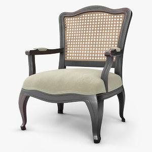 3D wood armchair wowen cane