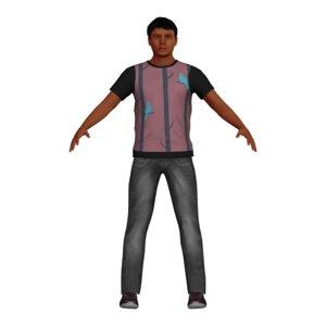 3D model adult man casual character
