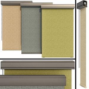 roller blinds set windows 3D model