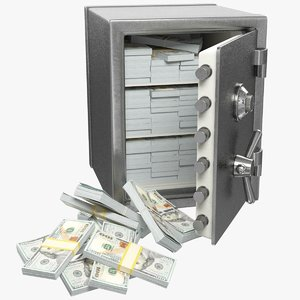3D model safe money box banknotes