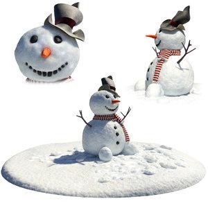 3D model little snowman