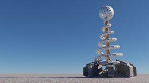 3D animate tesla coil turret