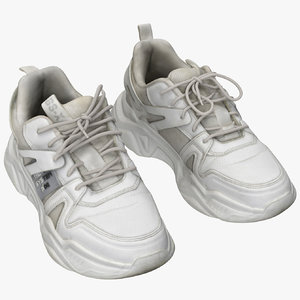 3D white sneakers
