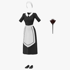 housemaid uniform feather duster 3D model