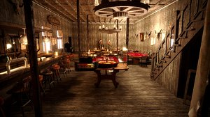 3D model western saloon bar assets