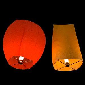 3D chinese sky lantern model