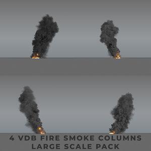 3D model smoke column large scale
