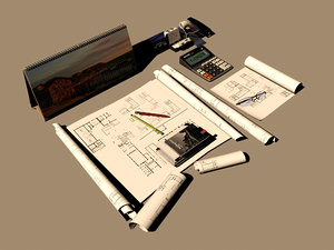 3D model desktop drawings tools pencil