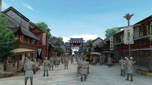 3D ancient commerce street market model