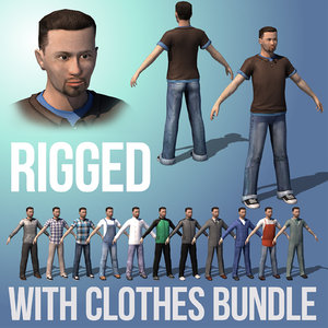 rigged male character clothes 3D