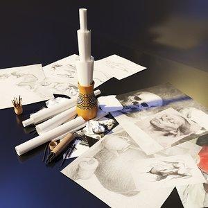 artist studio drawing set 3D model