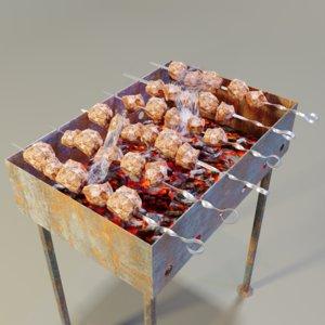 barbecue skewers 3D model