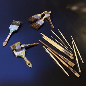 3D artist studio brushes set model