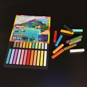 artist studio pastels set 3D