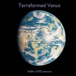 3D planet terraformed venus model